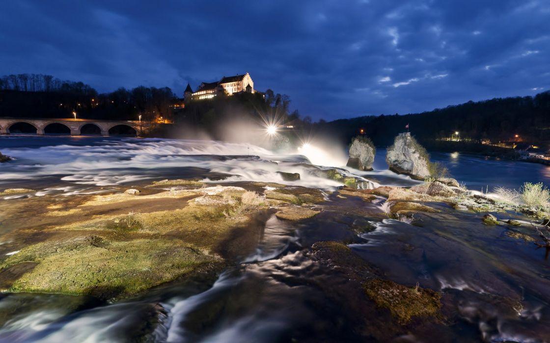landscape city night building manhatton waterfall ultrahd 4k wallpaper wallpaper