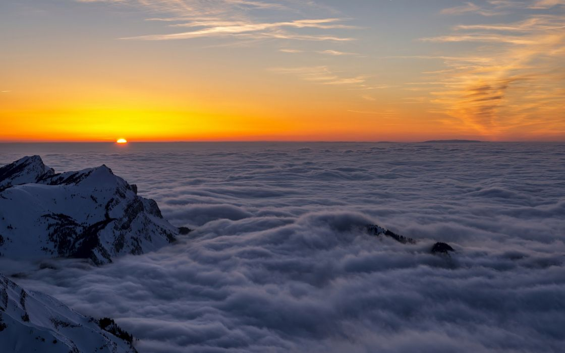 nature mountain range fog sunrise landscape tree mac ox ultrahd 4k wallpaper background wallpaper