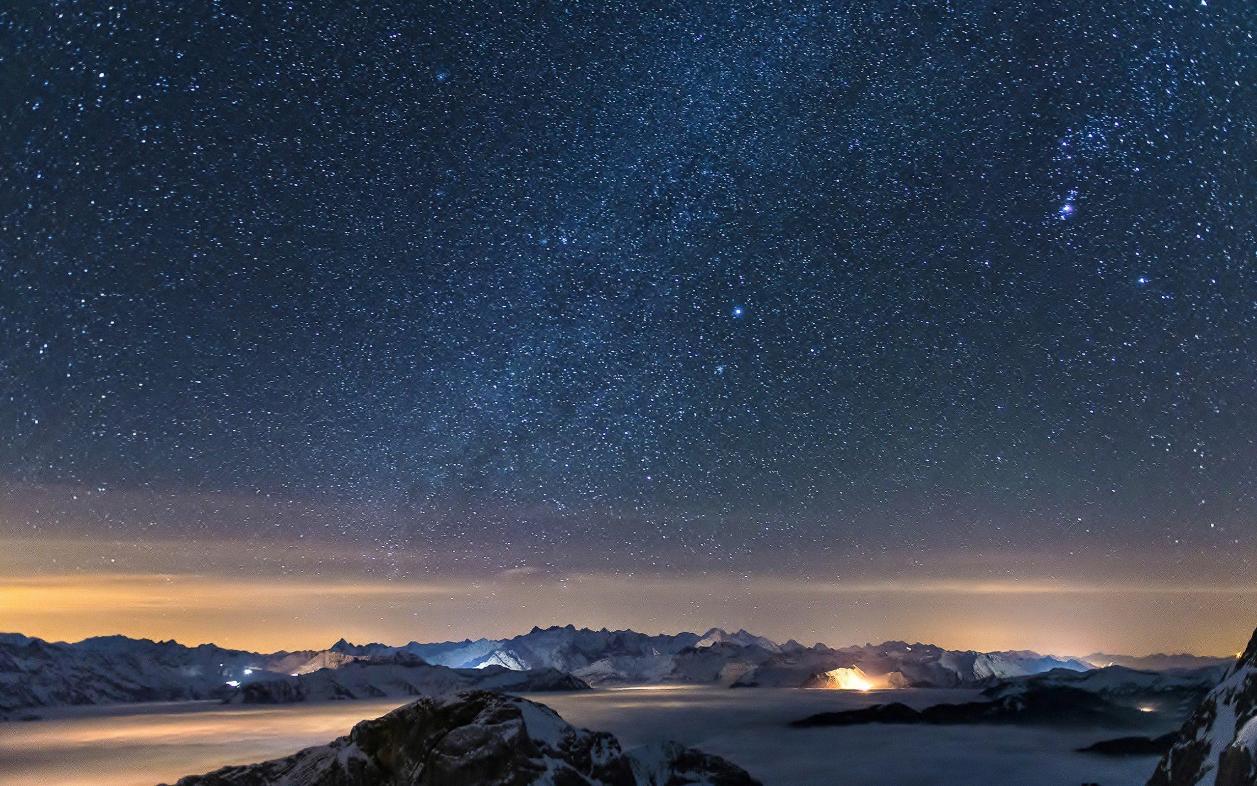 Nature Mountain Galaxy Night Landscape Fog Stars Ultrahd 4k
