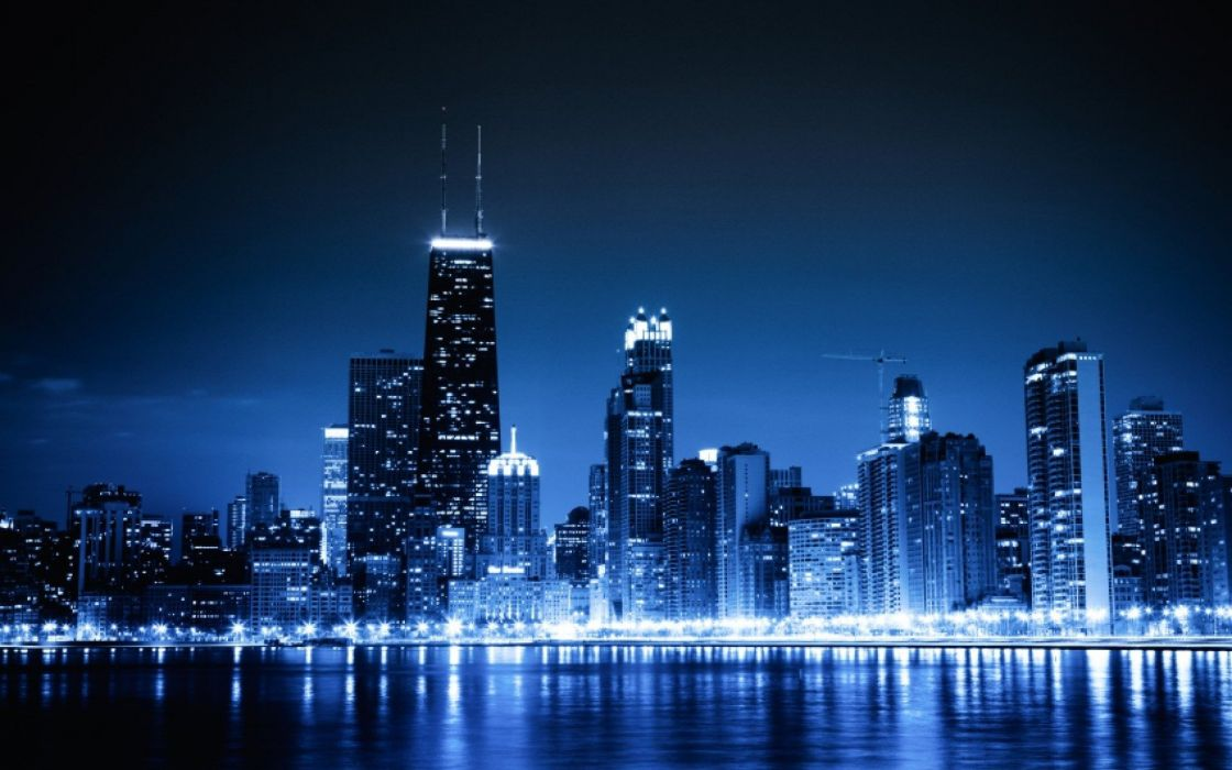blue cityscapes Chicago night lights urban skyscrapers wallpaper