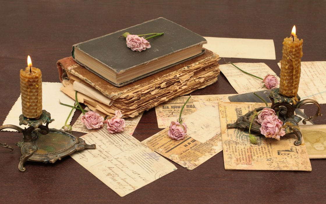 cards paper flowers vintage old books letters candles roses wallpaper
