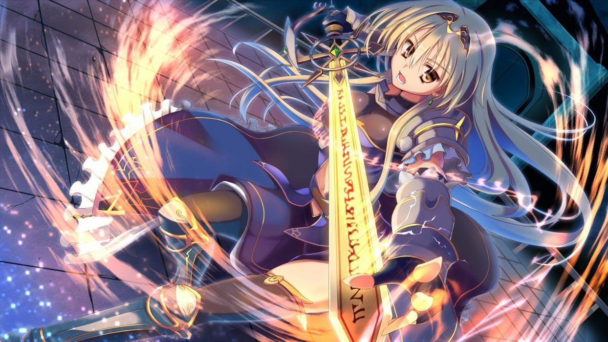 blondes dress long hair weapons brown eyes armor open mouth anime girls gauntlets swords original characters wallpaper