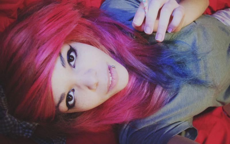 women smoking happy redheads brown eyes piercings daydream wallpaper
