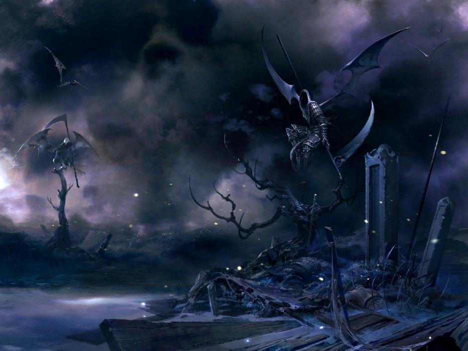wings dark scythe weapons fantasy art grim reapers wallpaper