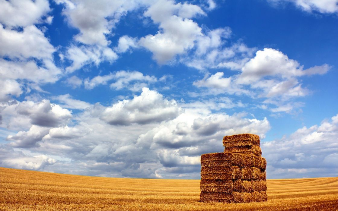 clouds landscapes nature fields hay straws blue skies wallpaper