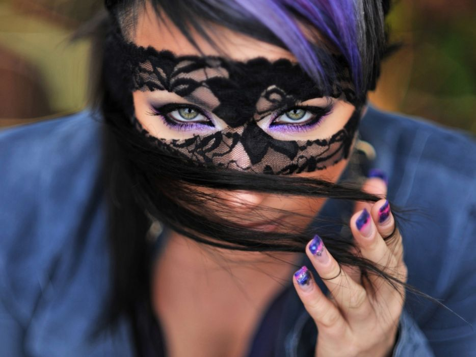 brunettes women lace green eyes domino mask wallpaper
