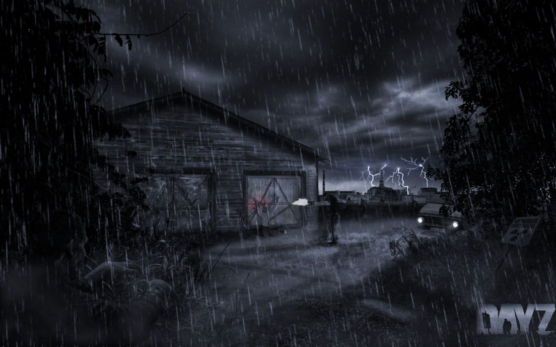 horror video games rain zombies execution lonely silent photo manipulation shot DayZ game wallpaper