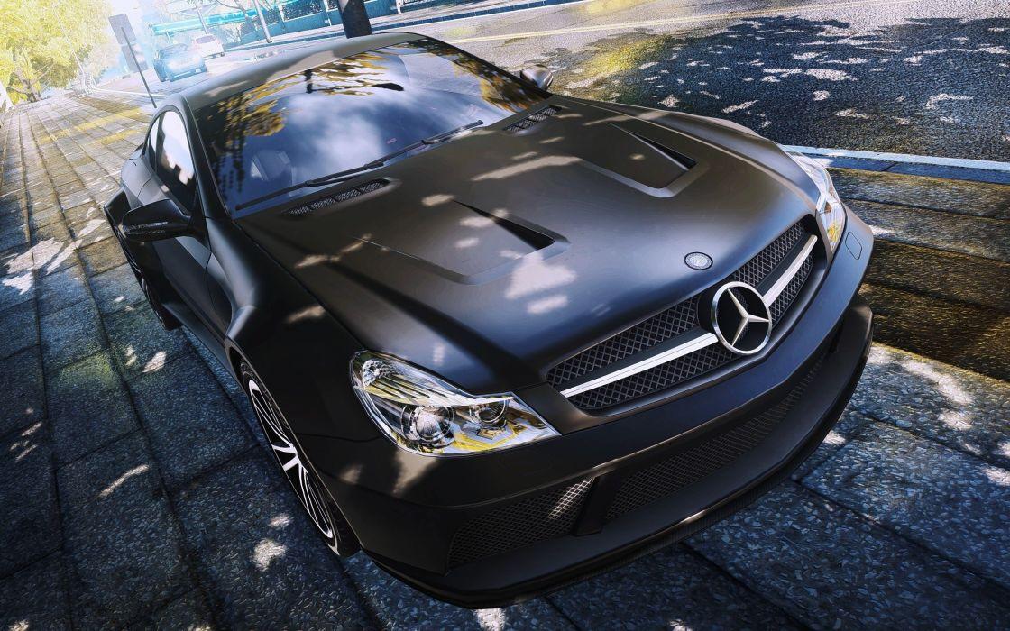cars Mercedes SL65 AMG Black Series black cars auto wallpaper