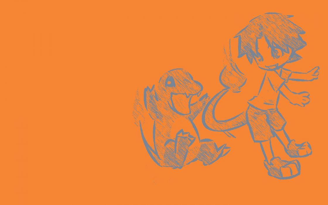 Pokemon orange artwork simple background Charmander Hitec wallpaper