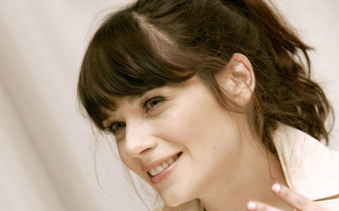 brunettes women close-up blue eyes Zooey Deschanel smiling faces wallpaper
