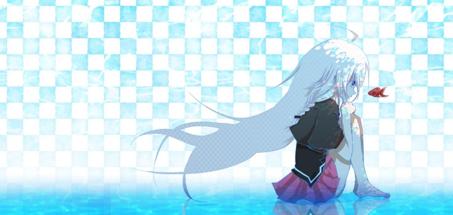 Vocaloid fish long hair barefoot white hair anime girls wallpaper