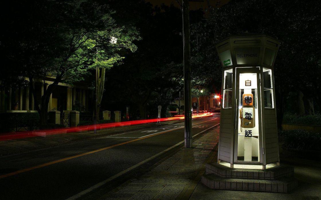 roads street lights phone booth wallpaper