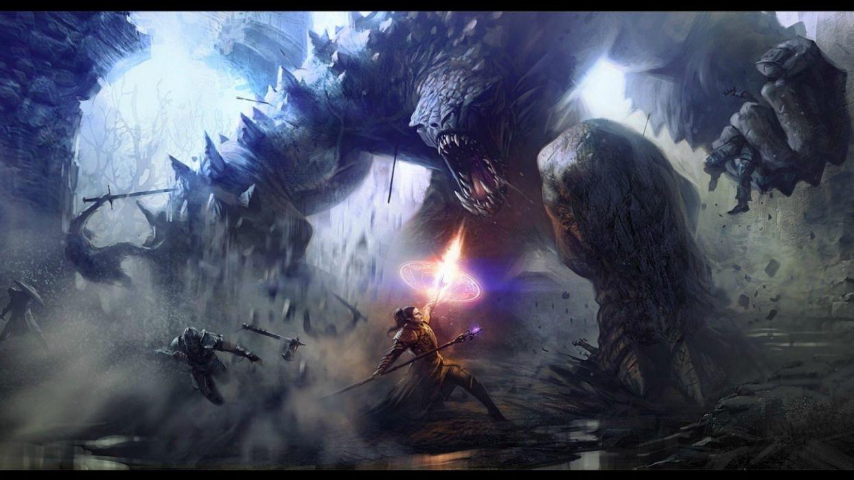 video games monsters fight fantasy art battles warriors wallpaper