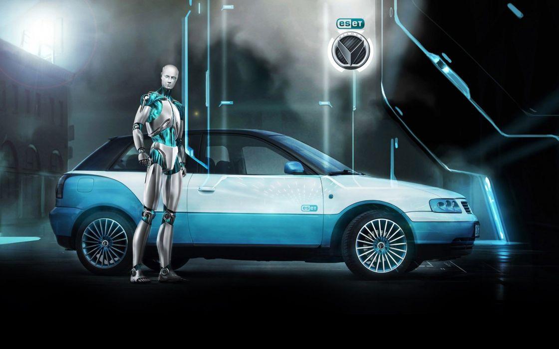 robots futuristic cars vehicles eset wallpaper