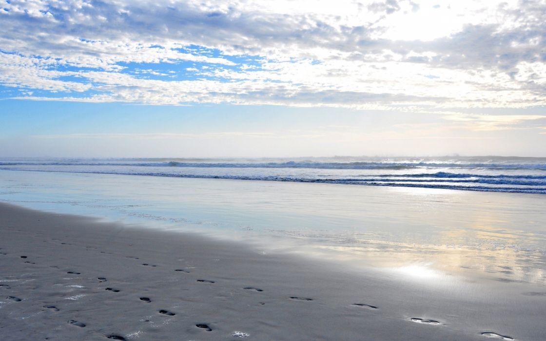 ocean clouds coast sand waves azure sky beaches wallpaper