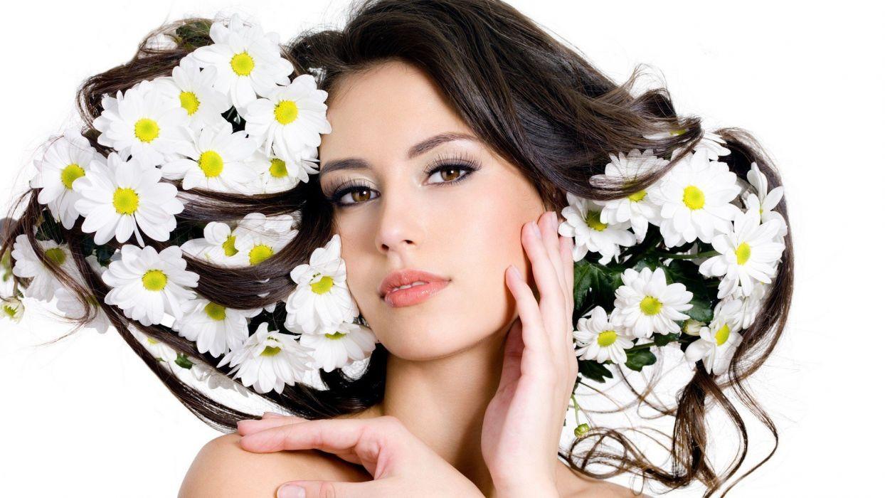 brunettes women flowers brown eyes faces wallpaper