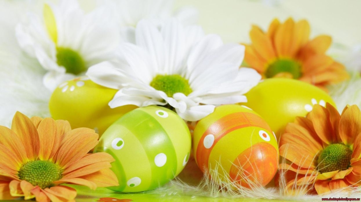 flowers easter eggs wallpaper