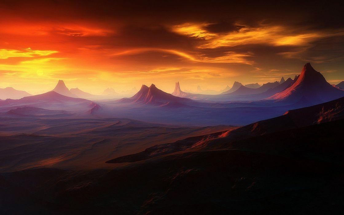 landscapes deserts digital art wallpaper