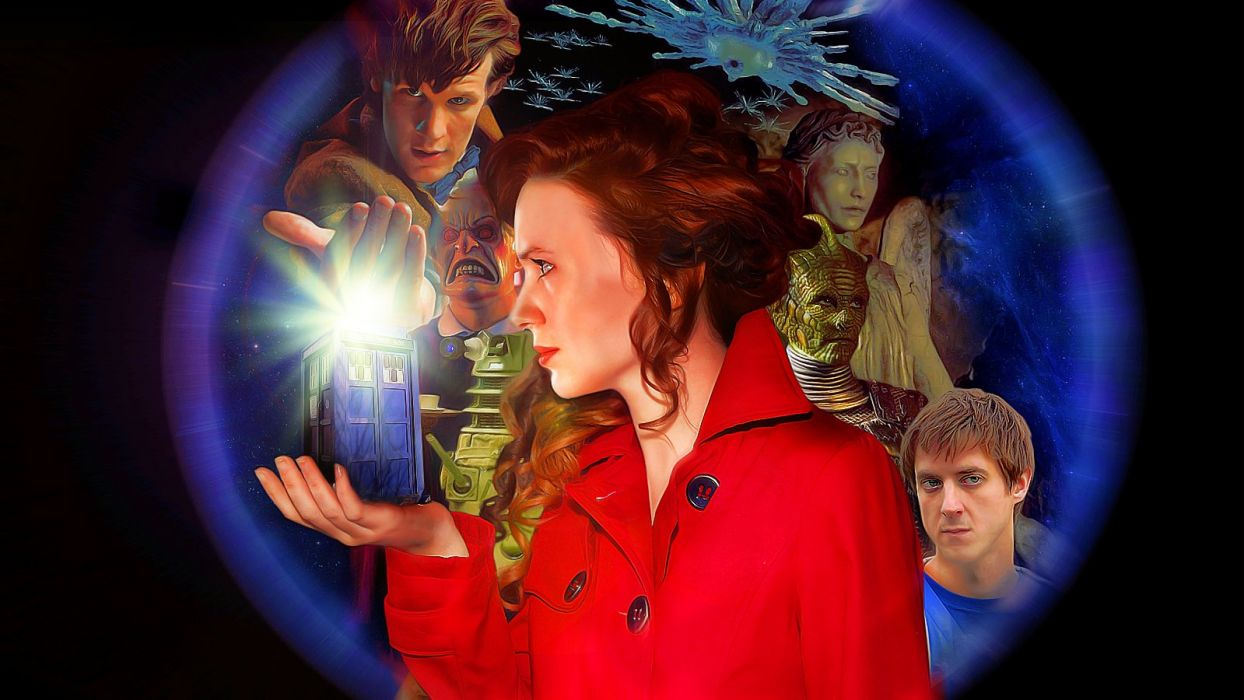 Matt Smith Karen Gillan Amy Pond Eleventh Doctor Doctor Who weeping angel Rory Williams wallpaper
