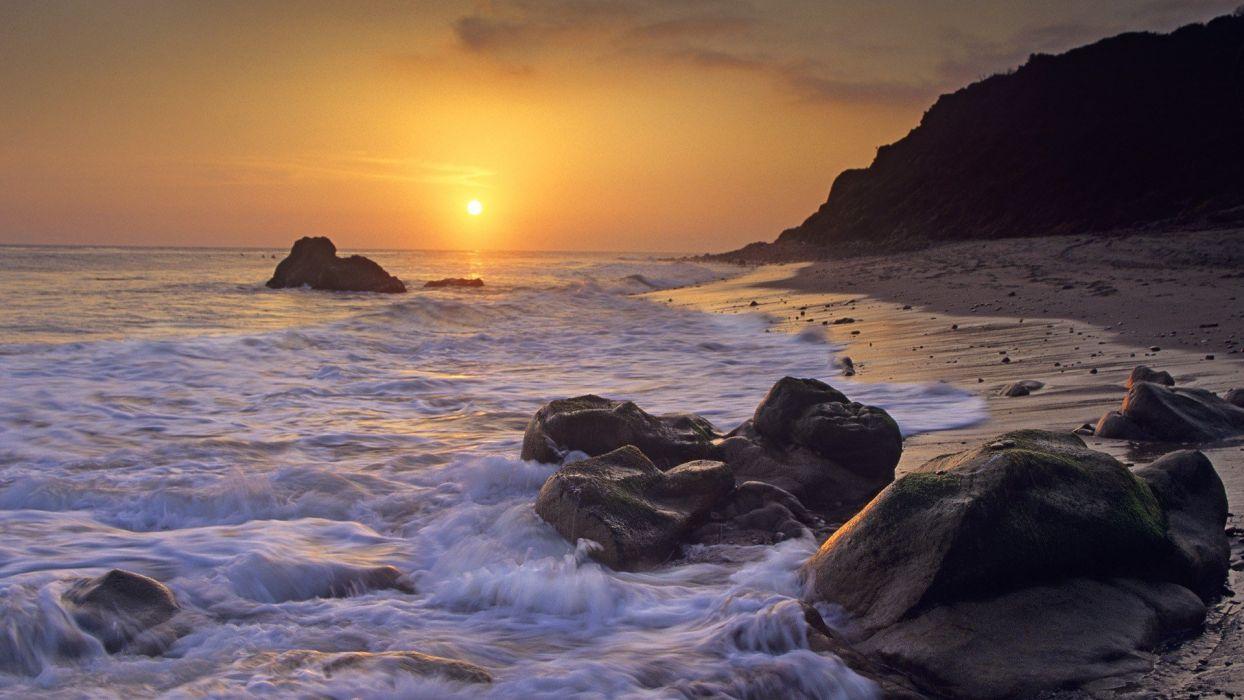 Sunset California Beaches Wallpaper