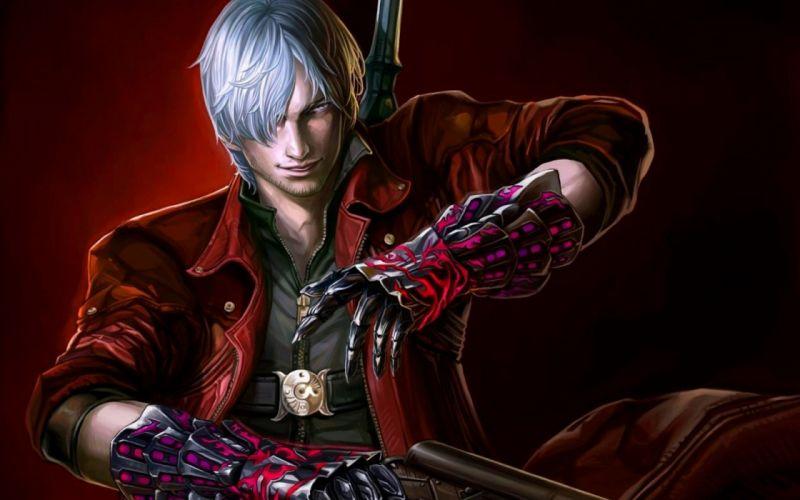 video games weapons Dante artwork white hair Devil May Cry 4 DanteWontDie wallpaper
