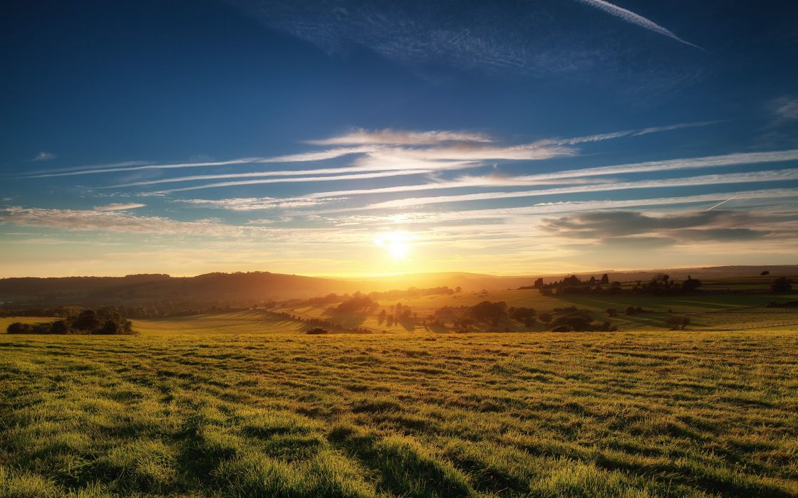 sunset clouds landscapes nature Sun England fields United Kingdom HDR photography skies wallpaper