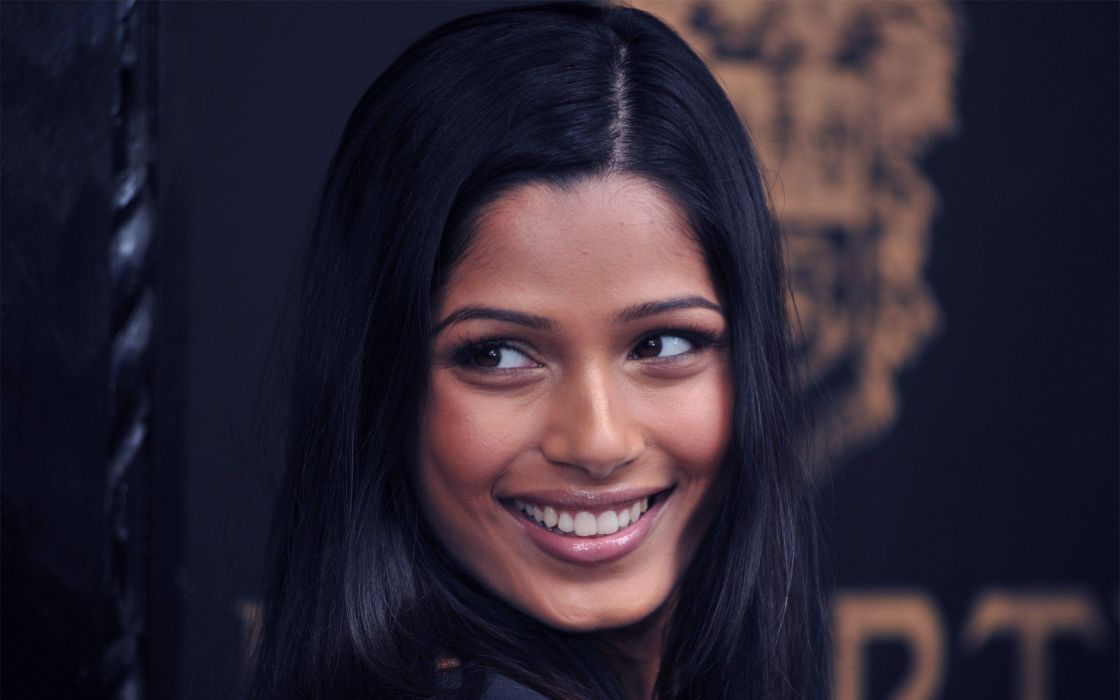 brunettes women actress celebrity smiling Freida Pinto faces wallpaper