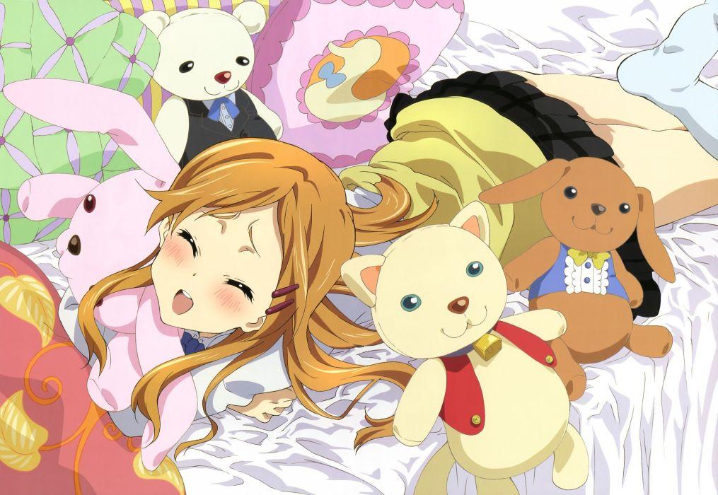 stuffed animals anime girls Kokoro Connect Kiriyama Yui wallpaper