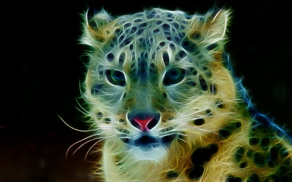 animals Fractalius snow leopards wallpaper