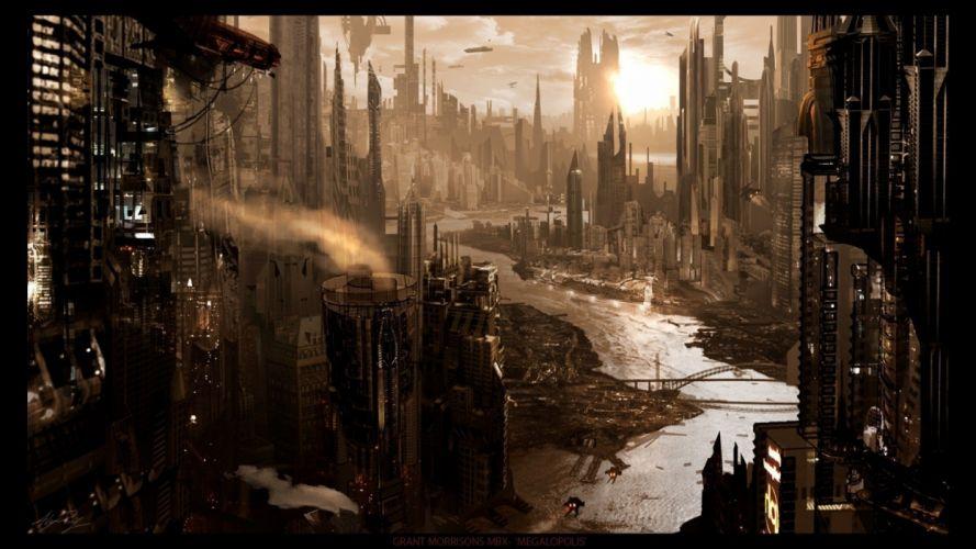 fantasy ruins futuristic fantasy art digital art science fiction artwork drawings abandoned city cities cities of the future futuristic city wallpaper