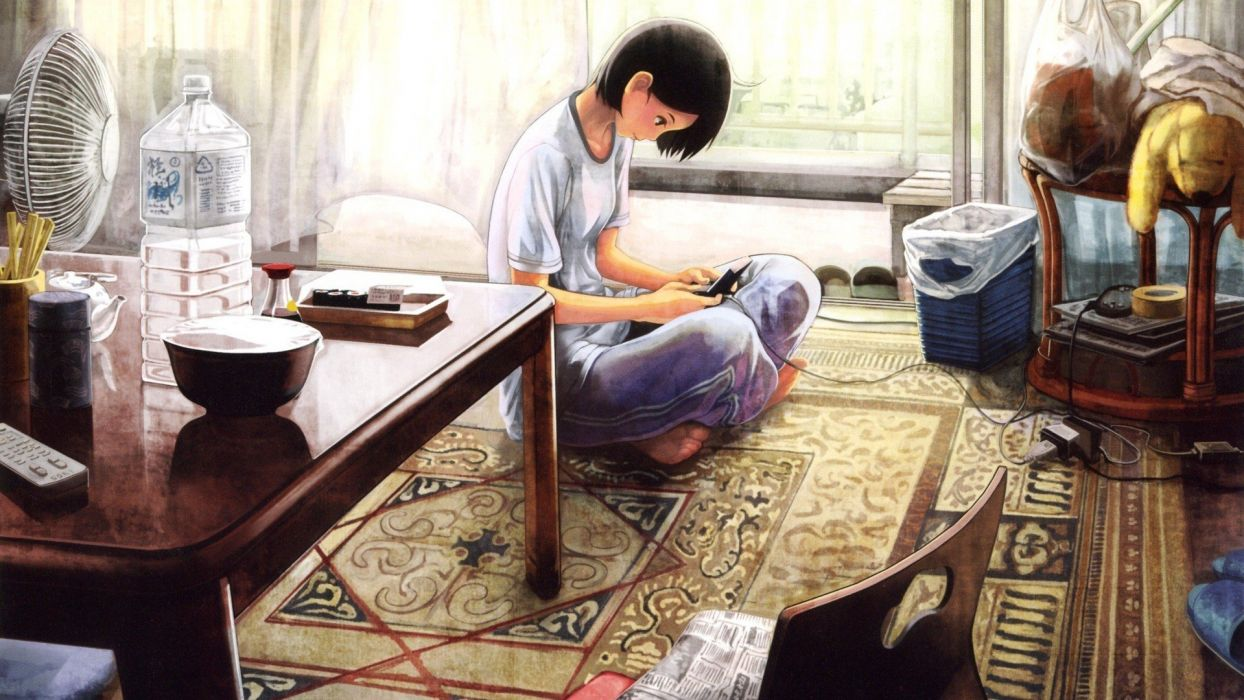 chairs artwork sitting anime teddy bears anime girls playing black hair remote control bowl original characters wallpaper