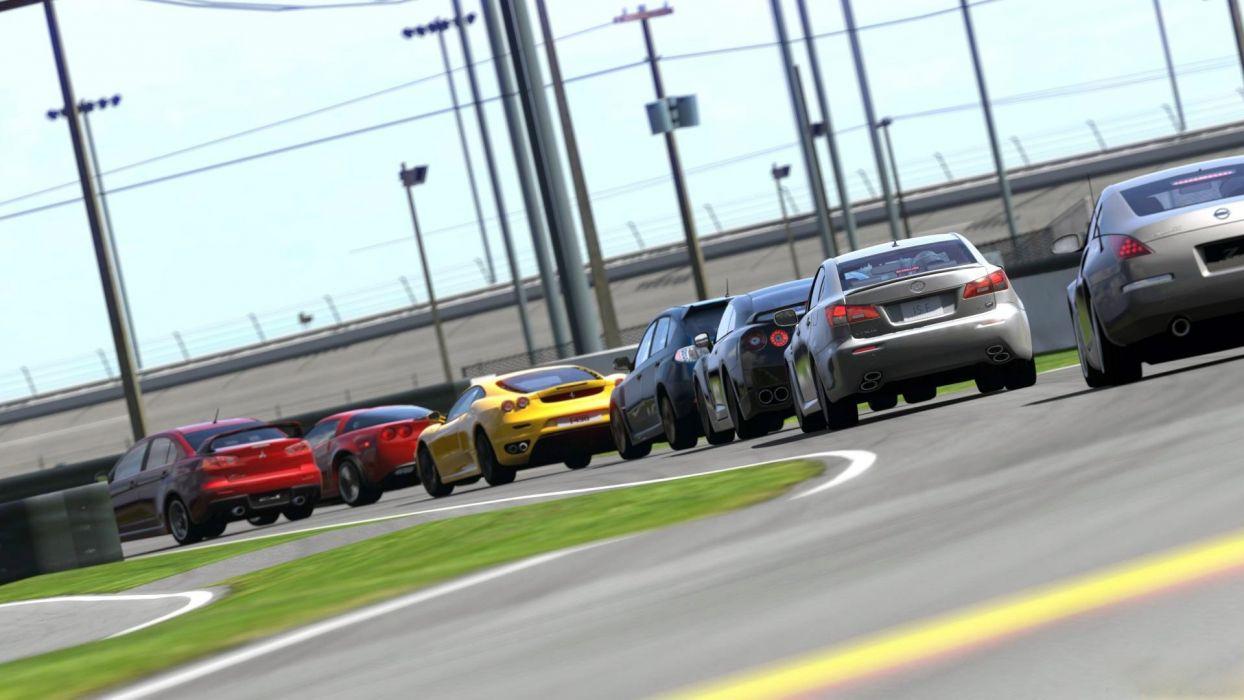 video games cars vehicles Nissan 350Z Chevrolet Corvette Lexus ISF Gran Turismo 5 Ferrari F430 Mitsubishi Lancer Evolution X Playstation 3 Nissan GT-R R35 wallpaper