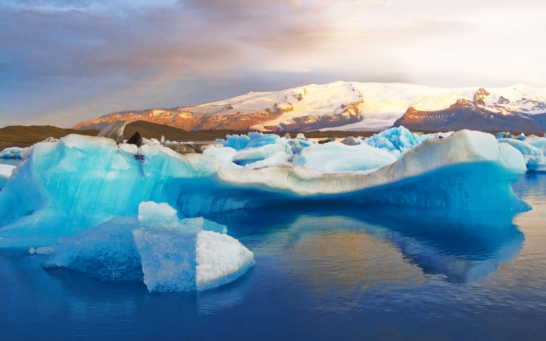 ice landscapes snow Iceland sea wallpaper
