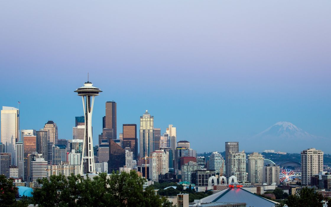 mountains cityscapes dawn Seattle USA skyscrapers Washington Space Needle wallpaper