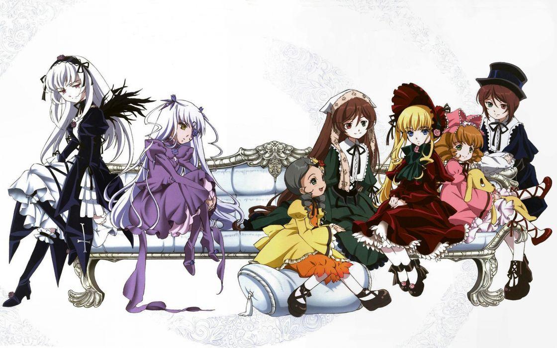 Rozen Maiden Shinku Suiseiseki Suigintou Souseiseki Kanaria anime Hina Ichigo simple background Barasuishou wallpaper