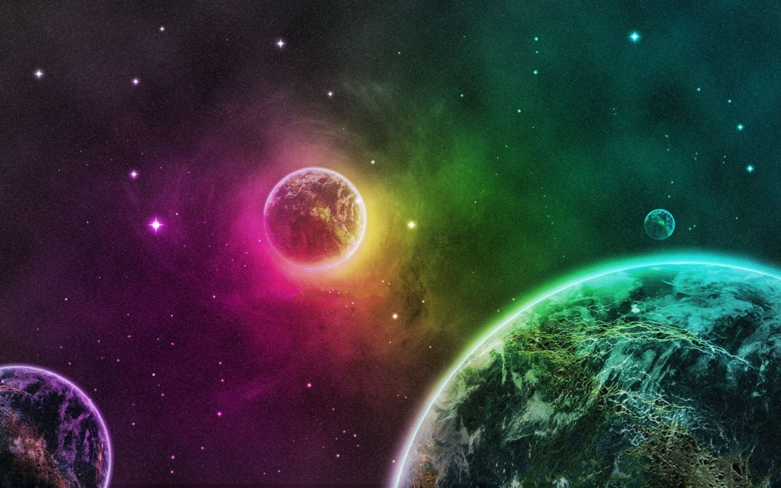 green outer space planets purple Earth wallpaper