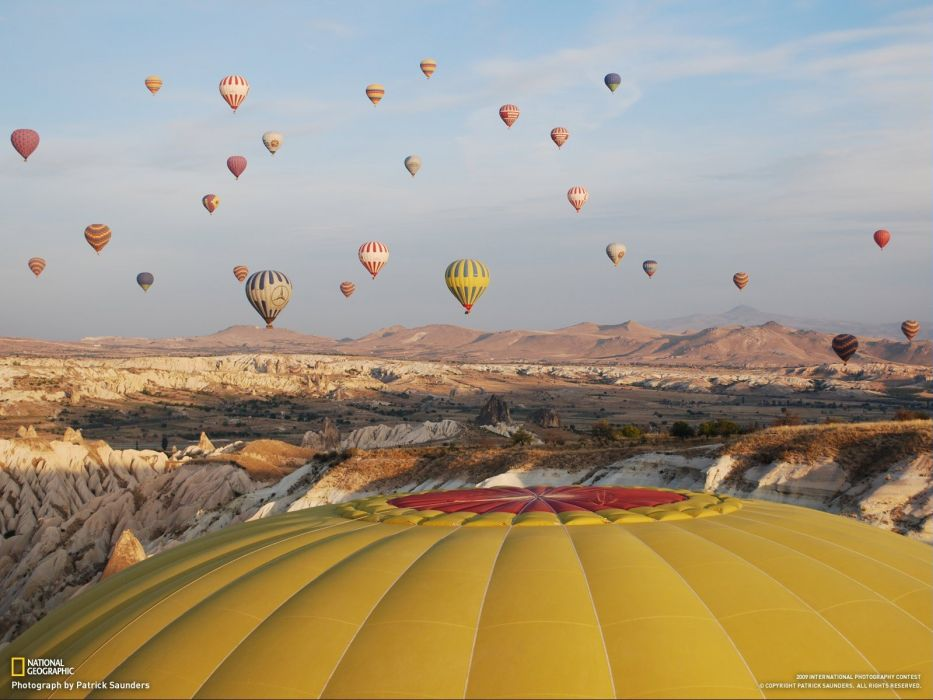 landscapes nature National Geographic hot air balloons wallpaper