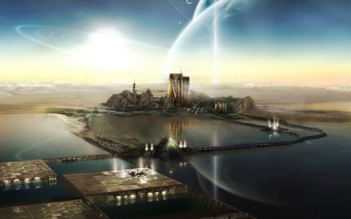 planets UFO digital art wallpaper