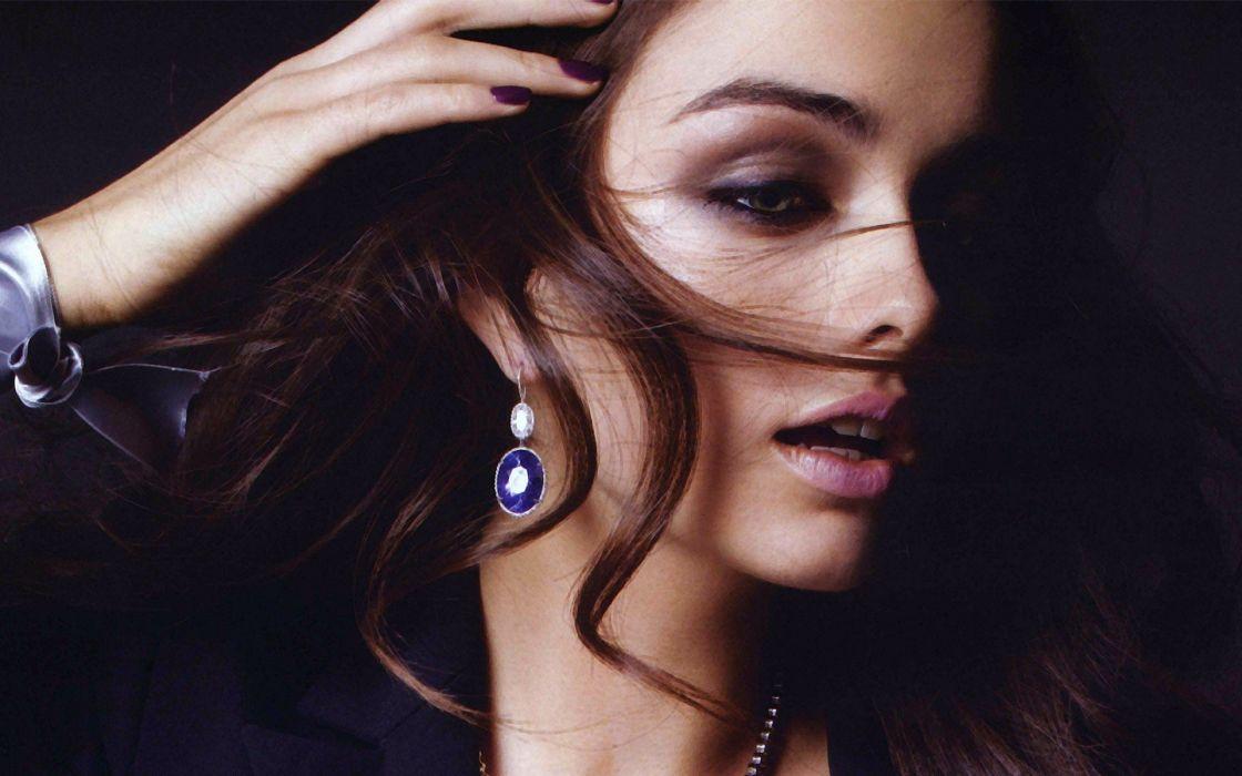 brunettes women models earrings faces christina ilieva wallpaper