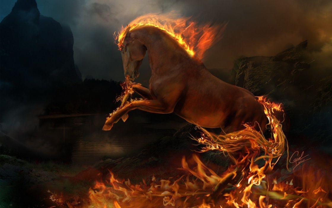 fire horses photo manipulation wallpaper