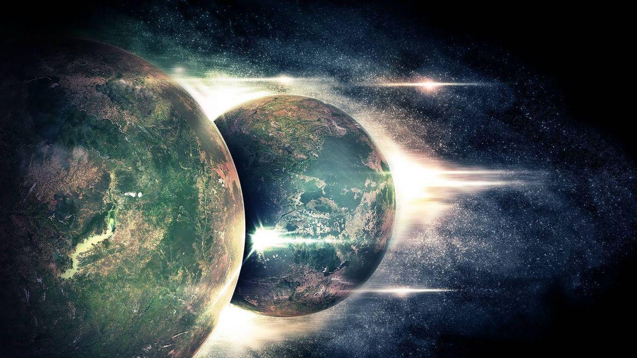 planets collision collide wallpaper