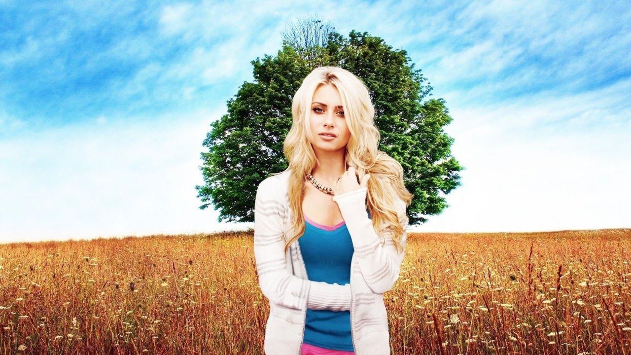 blondes trees fields Alyson Michalka wallpaper