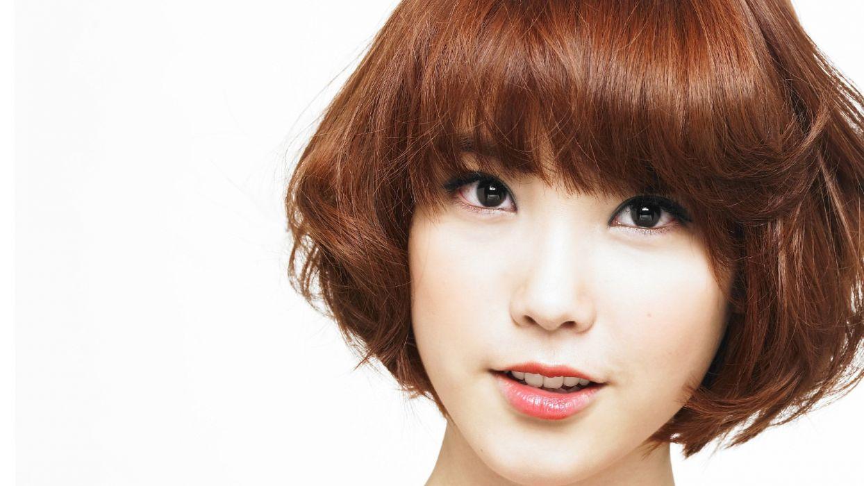 women Asians Korean IU (singer) K-Pop simple background faces white background bangs wallpaper