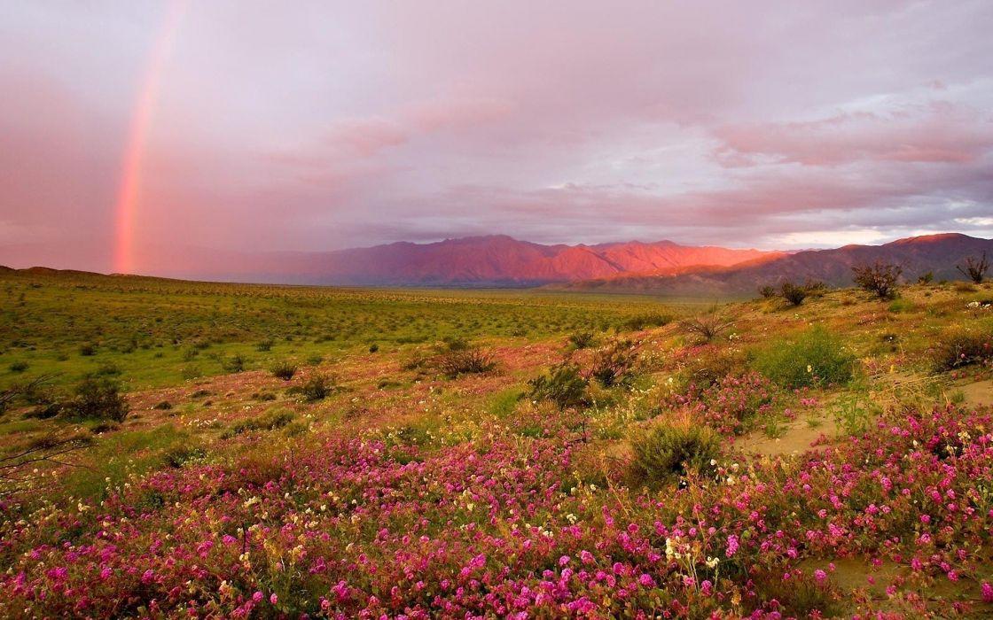 mountains landscapes nature rainbows wallpaper