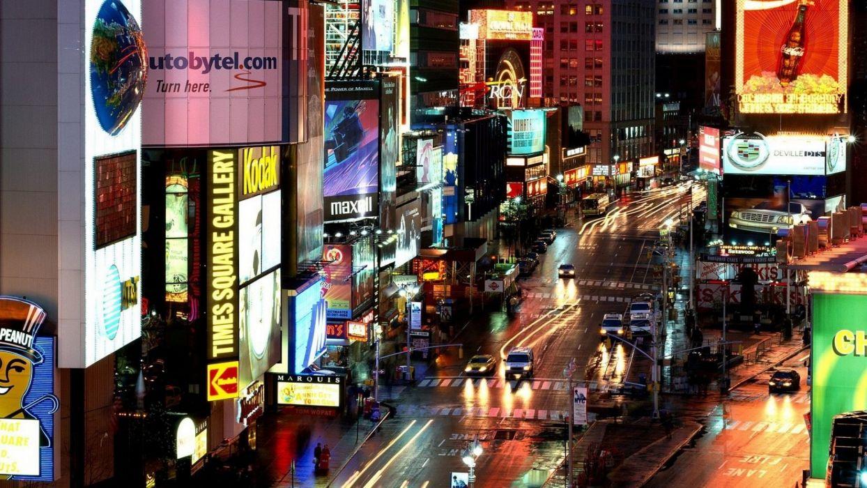 cityscapes cars traffic New York City traffic lights street lights wallpaper