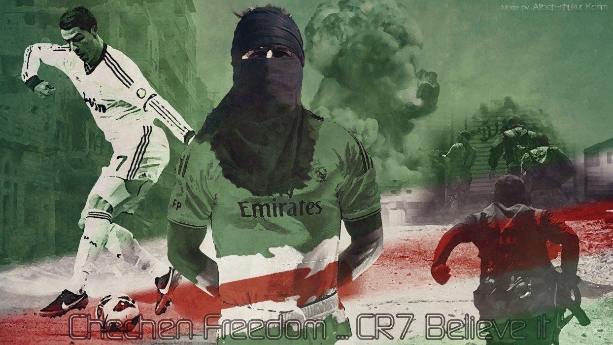 sports soccer propaganda Real Madrid Cristiano Ronaldo football players Chechnya wallpaper