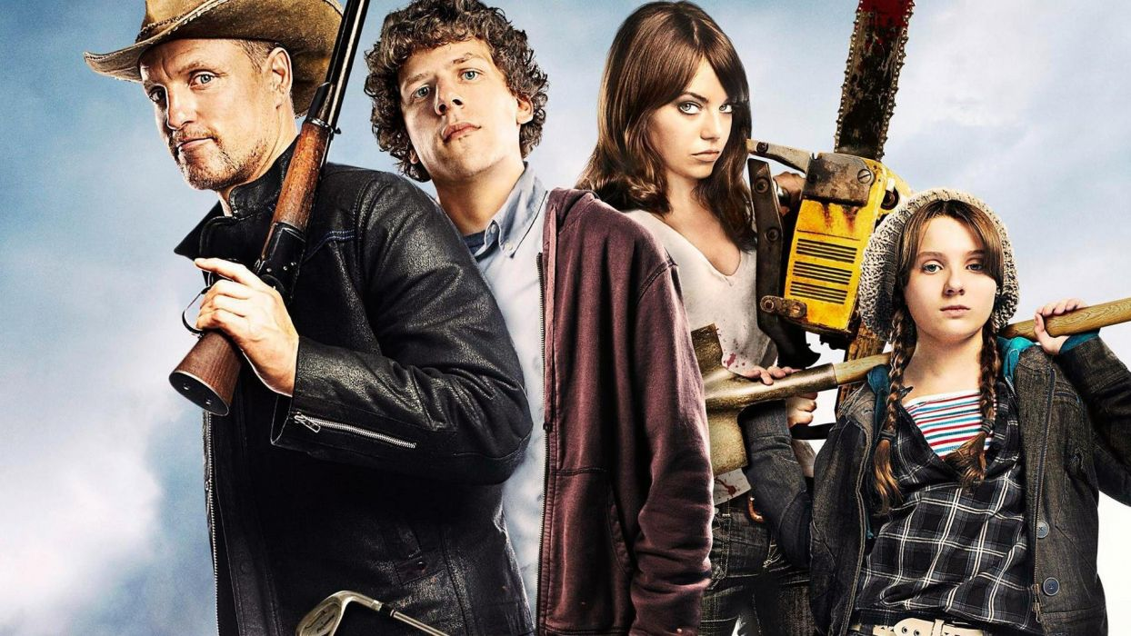 ZOMBIELAND comedy horror dark action weapon gun poster      g wallpaper