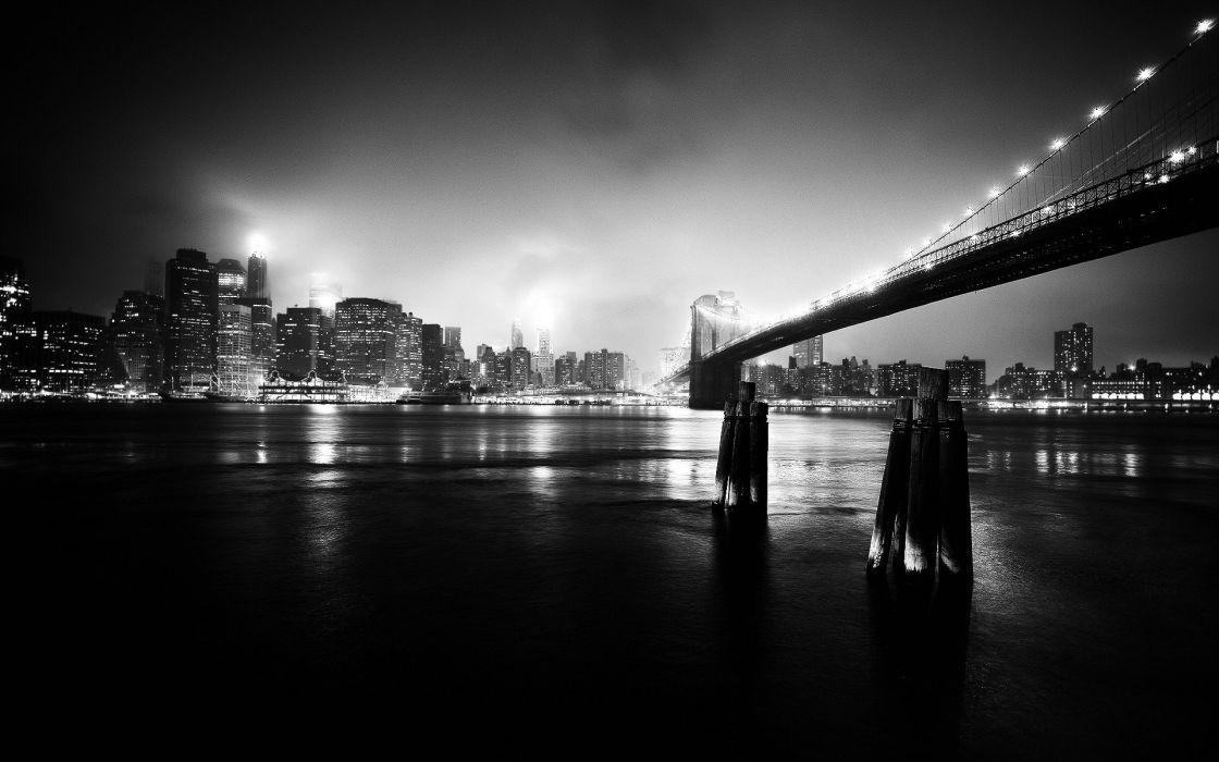 cityscapes bridges buildings grayscale wallpaper