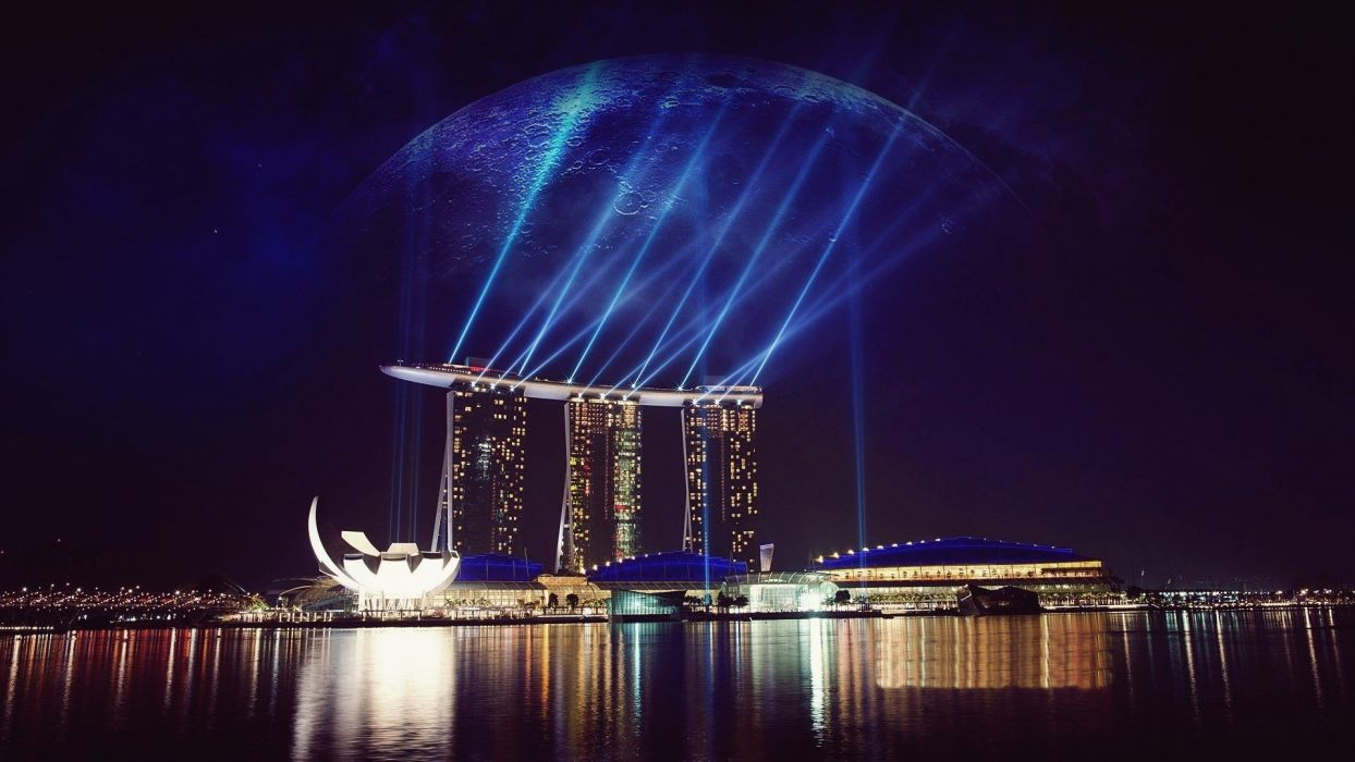 water clouds lights Singapore digital art hotels reflections cities rays sea wallpaper