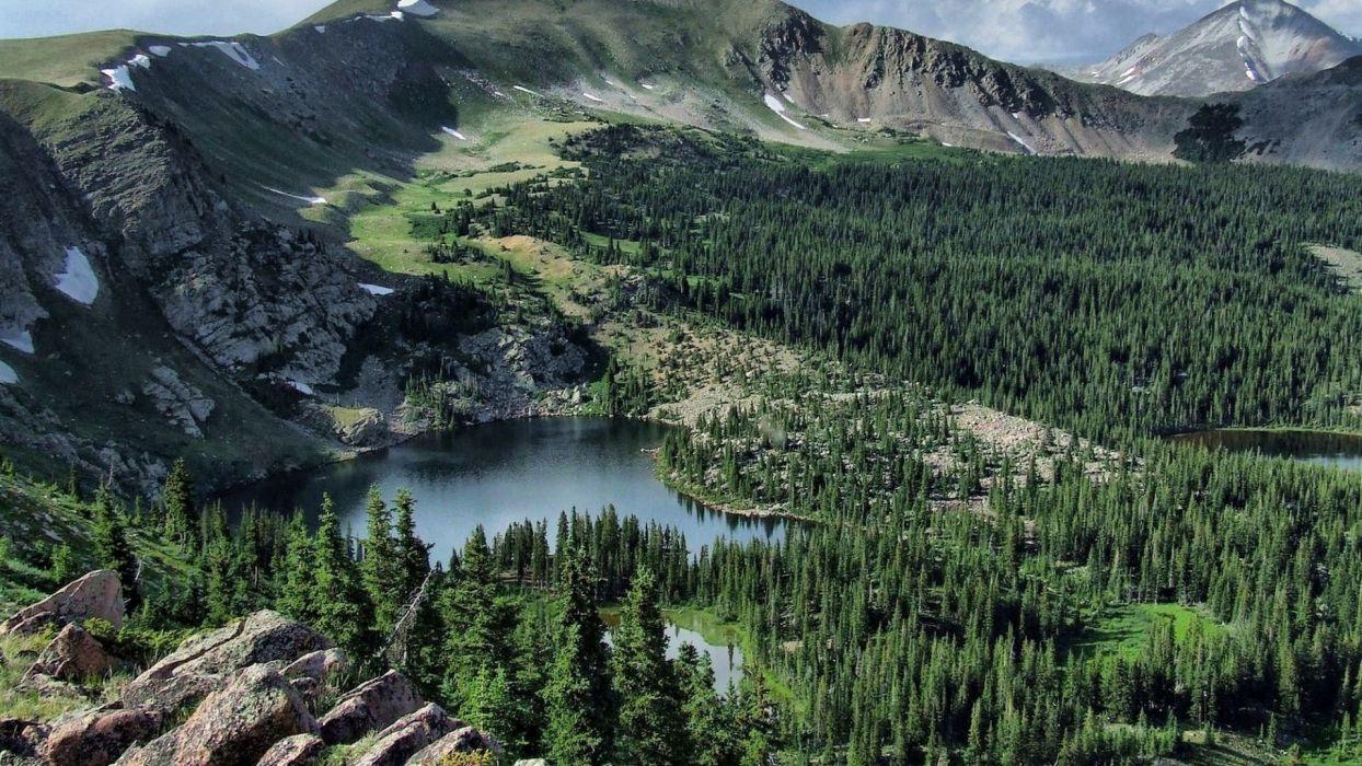 mountains landscapes nature lakes lake shore wallpaper